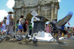 Los turistas pasean alrededor del Arco de Constantino mientras las palomas rodean un montón de basura, en Roma.
