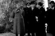Franco, Salazar y Serrano Suñer, en Sevilla, en 1942.