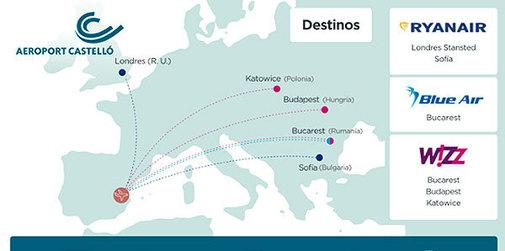 Mapa de las rutas del aeropuerto de Castellón.