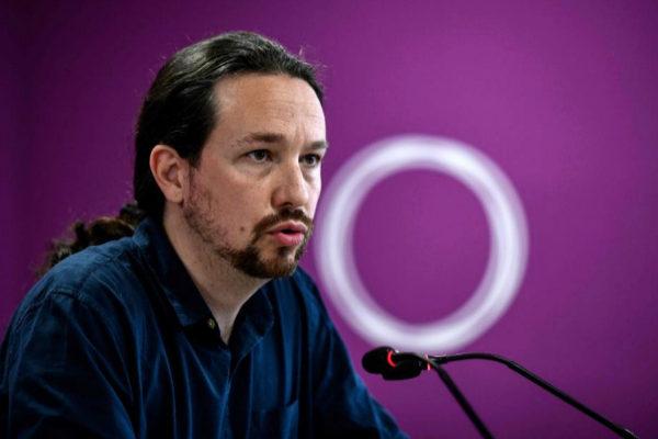 Pablo Iglesias, líder de Unidas Podemos, en rueda de prensa.