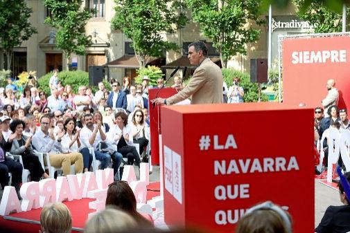 Pedro Sánchez, en un acto previo al 26-M en Navarra