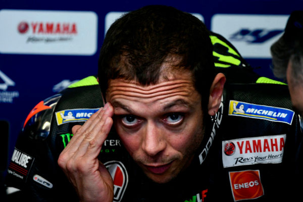 Italy's Valentino <HIT>Rossi</HIT> reacts in the stands during the second free practice session for the Italian Moto GP Grand Prix at the Mugello race track on May 31, 2019 in Scarperia e San Piero. (Photo by Filippo MONTEFORTE / AFP)