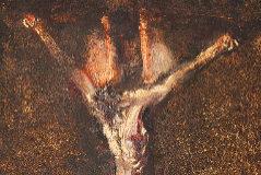 """'Cristo crucificado de tres clavos, muerto'. (Circa 1765. Colección particular). Esta obra, de una particular modernidad que ya invita a pensar que pudiera haber salido de la mano del que muchos han calificado como el primer pintor moderno del historia, no sólo mostraría las grafías características de Goya. Según el historiador Daniel José Carrasco de Jaime, estaría también repleto de simbolismo masónico. """"El lienzo debe tenerse en consideración por ser uno de los ejemplos más preclaros de sincretismo cultural y conocimiento masónico"""", afirma."""