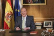 El Rey Juan Carlos I, el 2 de junio de 2014, anunciando su abdicación.
