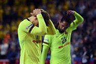 Andersson y Duarte se lamentan por la derrota, este sábado.