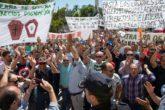 Protesta de agricultores en Jaén este miércoles.