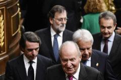 El Rey y los ex presidentes Aznar, González, Rajoy y Zapatero, en el último gran acto de Dos Juan Carlos: la celebración en el Congreso del 40º aniversario de la Constitución.