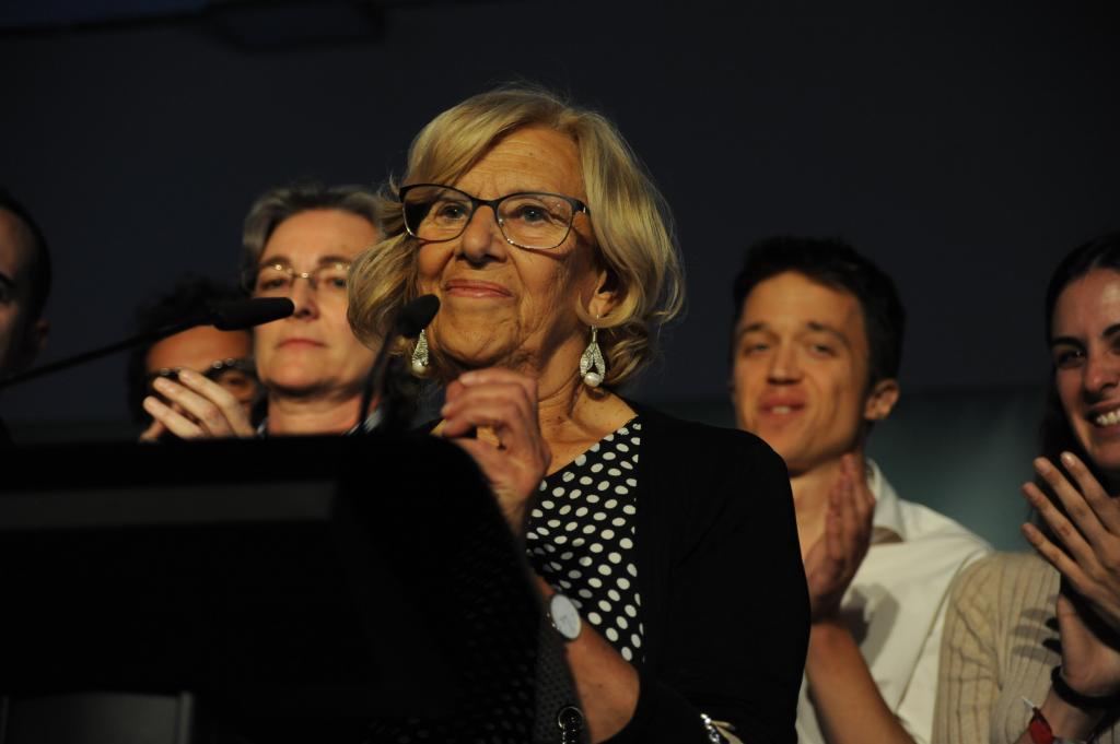 Manuela Carmena, tras conocerse los resultados de las elecciones.