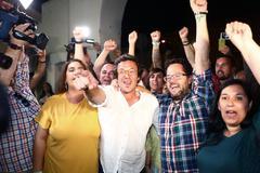 José María González, 'Kichi', celebra su resultado electoral el 26-M.