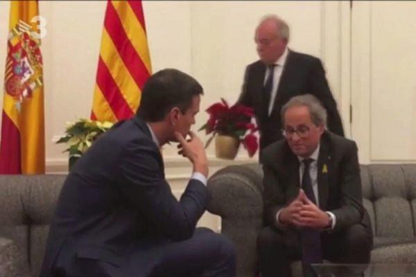 Pedro Sánchez y Quim Torra, durante su encuentro en Pedralbes.