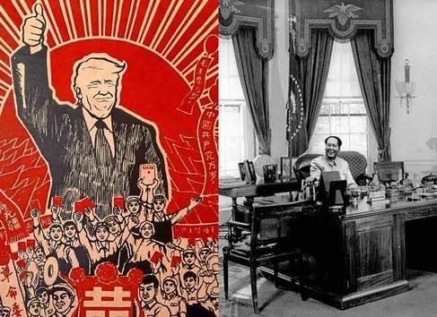 Trump, convertido en icono comunista; Mao, en el Despacho Oval.