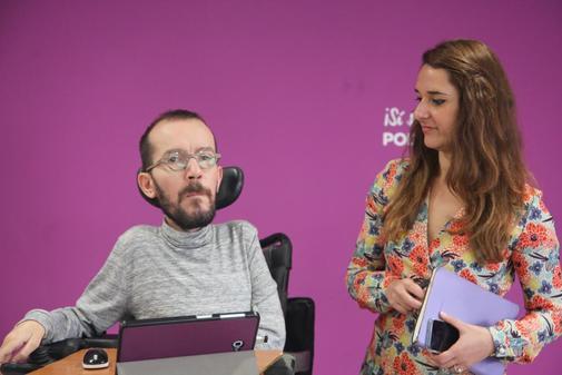 Pablo Echenique y Noelia Vera, en una rueda de prensa.