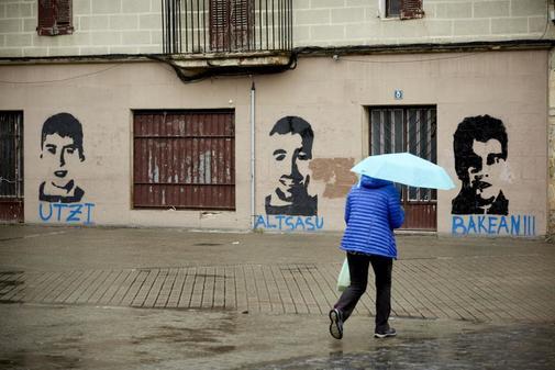 Pintadas en Alsasua en apoyo a los condenados.
