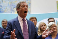 Nigel Farage, ex líder del Ukip, que abandonó hace un año, dirige ahora el Partido del Brexit, favorito en las encuestas.