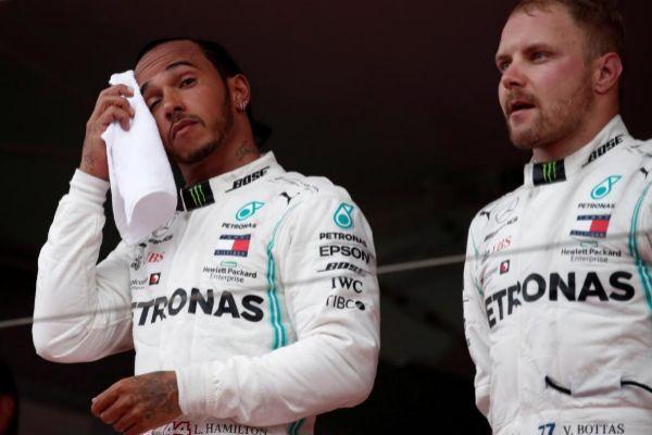 Hamilton y Bottas, en el podio de Mónaco.