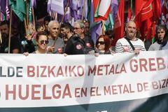 Manifestación en la primera jornada de huelga en el metal de Bizkaia.