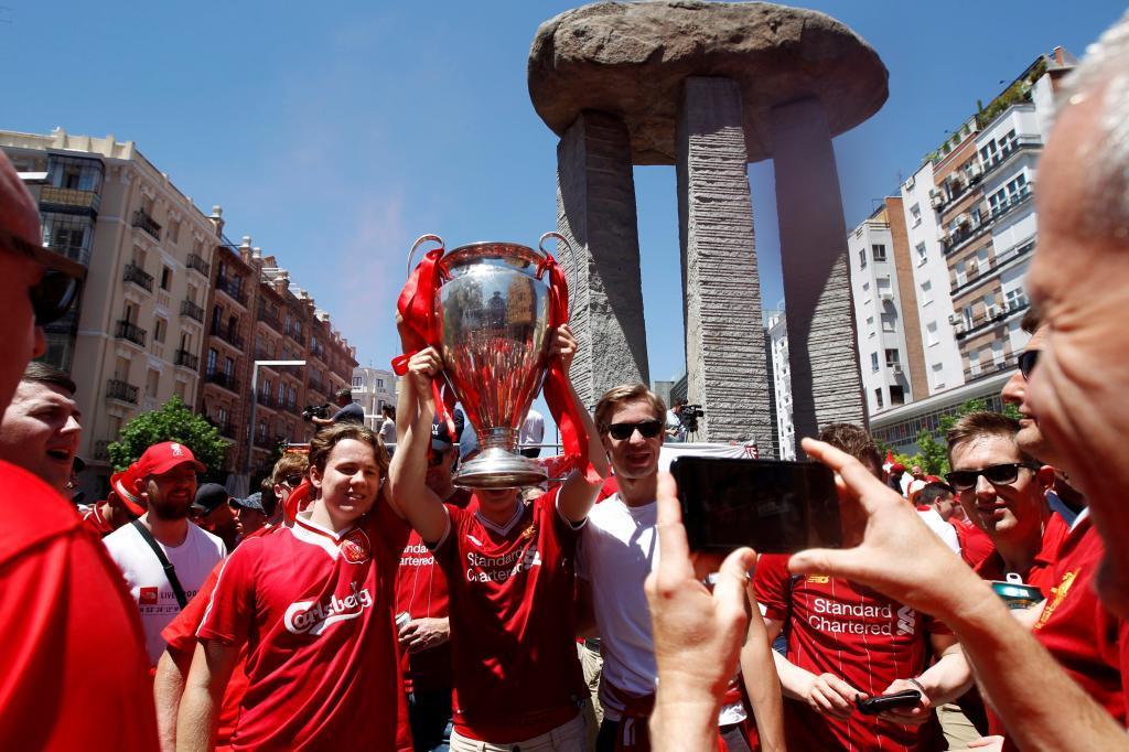 Aficionados del Liverpool, el pasado sábado en Madrid.