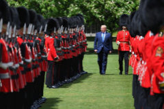<HIT>TOPSHOT</HIT> - US President Donald <HIT>Trump</HIT> inspects an honour guard during a welcome ceremony at Buckingham Palace in central London on June 3, 2019, on the first day of their three-day State Visit to the UK. - Britain rolled out the red carpet for US President Donald <HIT>Trump</HIT> on June 3 as he arrived in Britain for a state visit already overshadowed by his outspoken remarks on Brexit. (Photo by MANDEL NGAN / AFP)