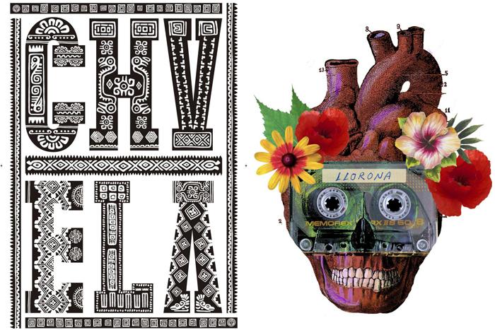 Ilustraciones de Rodrigo Sánchez y Ulises Culebro en la muestra.