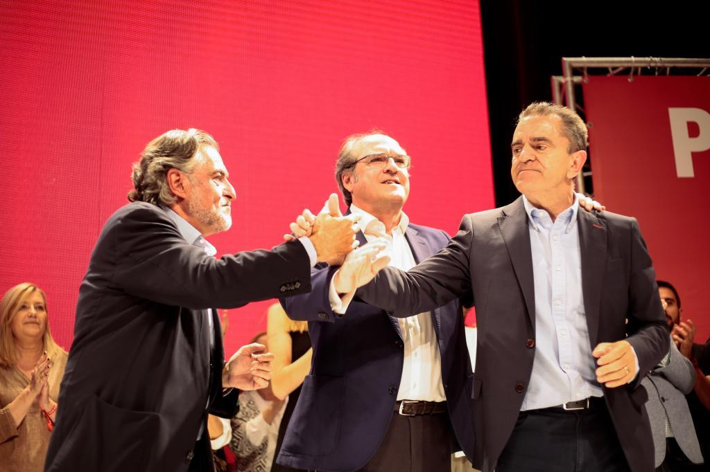 José M. Franco, Ángel Gabilondo y Pepu Hernández, la noche del 26-M.