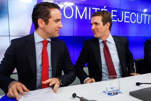 Teodoro García Egea y Pablo Casado, en el Comité Ejecutivo del PP