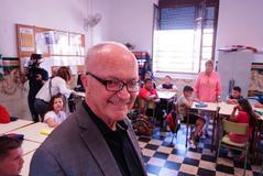 El economista noruego Finn Kydland, este lunes, en el Colegio Parroquial Diocesano Santiago Apostol.