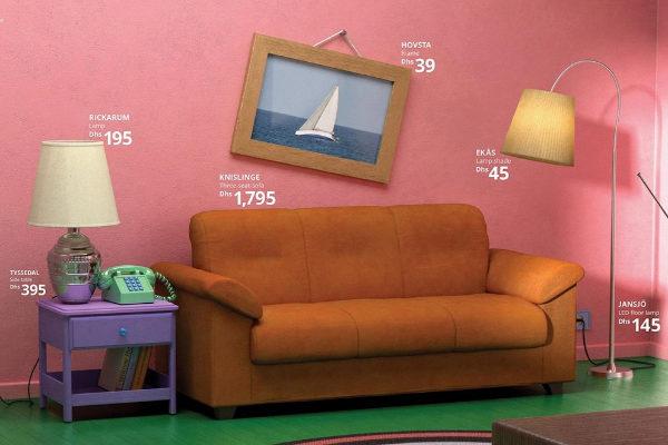 El salón de 'Los Simpson', con muebles de Ikea.