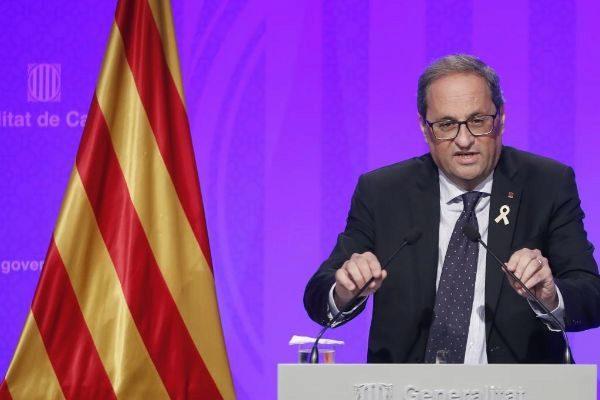 Quim Torra, durante su comparecencia en el Palau de la Generalitat