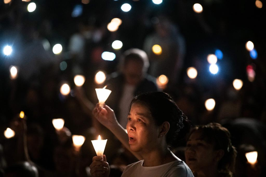 People attend a candlelight vigil at Victoria Park in <HIT>Hong</HIT> <HIT>Kong</HIT> on June 4, 2019, to mark the 30th anniversary of the 1989 Tiananmen crackdown in Beijing. - Large crowds turned out for a mass candlelight vigil in <HIT>Hong</HIT> <HIT>Kong</HIT> on June 4 evening marking 30 years since China's bloody Tiananmen crackdown, a gathering tinged with symbolism as the city struggles to preserve its own cherished freedoms. (Photo by Philip FONG / AFP)