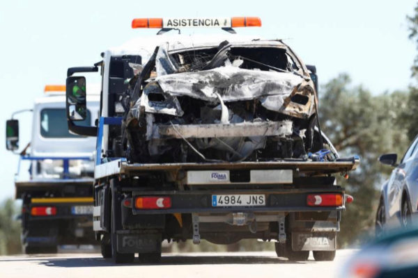 Wreckage removed from the crash site where the Spanish footballer <HIT>Jose</HIT> <HIT>Antonio</HIT> <HIT>Reyes</HIT> died in a traffic accident, is seen placed on a truck in Utrera