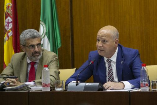 Javier Imbroda, consejero de Educación, durante una comparecencia en el Parlamento celebrada este martes.