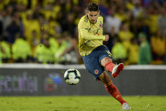 Colombia's player <HIT>James</HIT> <HIT>Rodriguez</HIT> kicks the ball during the international friendly football match at the Nemesio Camacho stadium in Bogota, on June 3, 2019. (Photo by RAUL ARBOLEDA / AFP)