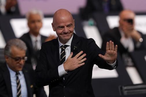 Gianni Infantino, tras ser reelegido presidente de la FIFA.