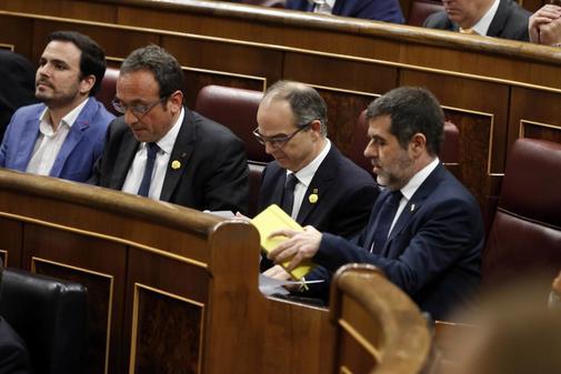 Jordi Sànchez, Jordi Turull y Josep Rull, en el Congreso