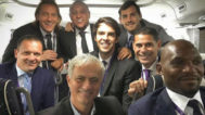 Roberto Carlos, Míchel Salgado, Predrag Mijatovic, Kaká, Casillas, Geremi y Mourinho.