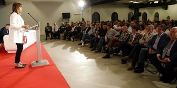 La líder del PSE-EE Idoia Mendia durante su intervención ante el Comité Nacional en Bilbao.