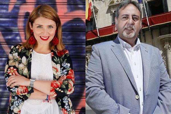 La candidata de Cs a la Alcaldía,Mari Carmen Sánchez, y el ex presidente de las Hogueras, '5' del PP, Manolo Jiménez.