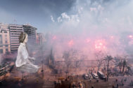 Simulación de la falla municipal de 2020 plantada en la Plaza del Ayuntamiento.