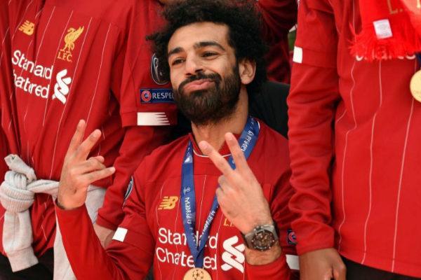Mohamed Salah, durante la fiesta del Liverpool por la Champions.