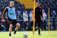 Donny van de Beek en un entrenamiento de Holanda antes de la Nations League