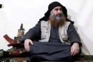 Última aparición de Al Bagdadi en un vídeo del Estado Islámico, en abril.