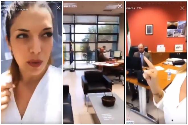 Virginia Moreno, la pareja del Director General de Educación de Andalucía, en su despacho.