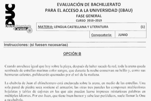 Extracto del examen de selectividad de Lengua en Canarias