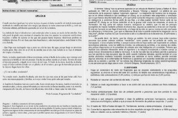 A la izquierda, prueba de Canarias. A la derecha, prueba de Madrid (Complutense).