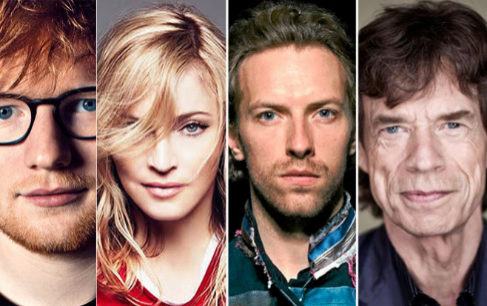 Ed Sheeran, Madonna, Chris Martin y Mick Jagger, cuatro ejemplos de estrellas contemporáneas de la música.