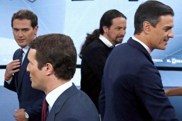 Albert Rivera, Pablo Casado, Pablo Iglesias y Pedro Sánchez, en un debate televisivo en campaña electoral.