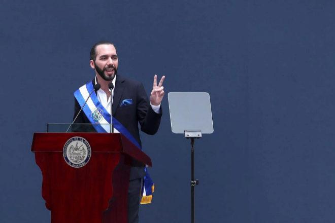 El nuevo presidente de El Salvador, Nayib Bukele, en su primer discurso tras tomar posesión.