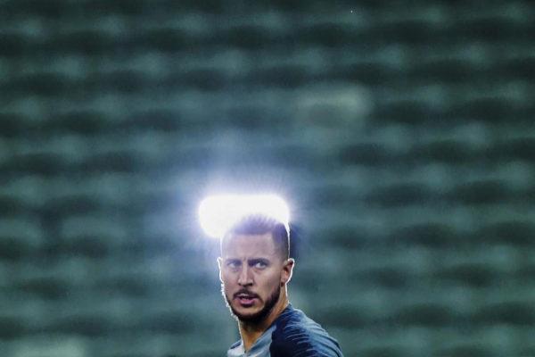 Hazard, durante un entrenamiento con el Chelsea.