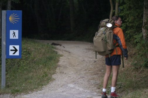 Un peregrino en el Camino de Santiago