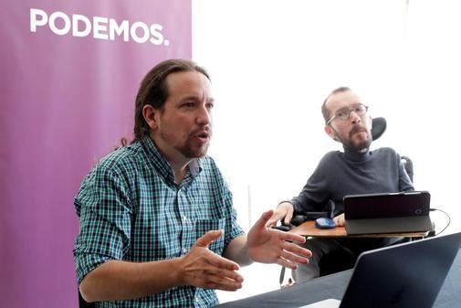 Pablo Iglesias y Pablo Echenique, durante el Consejo Ciudadano Estatal